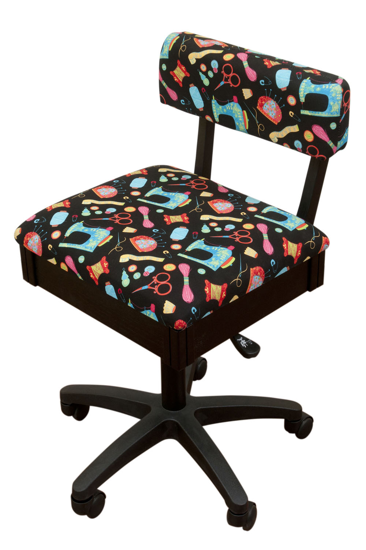 Arrow Height Adjustable Hydraulic Sewing Chair - Black Riley Blake Fabric