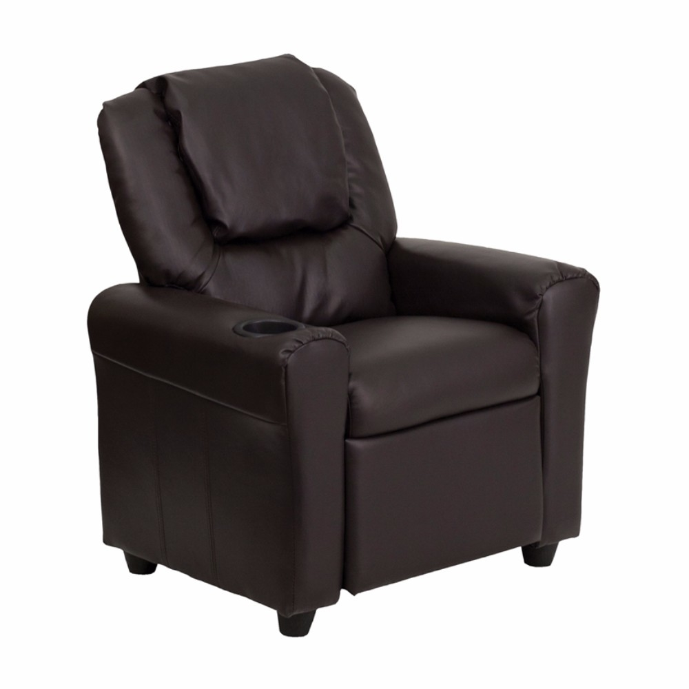Flash Furniture Contemporary Brown Leather Kids Recliner with Cup Holder and Headrest [863-Dg-Ult-Kid-Brn-Gg] 59e46028e224613cc0691b8a