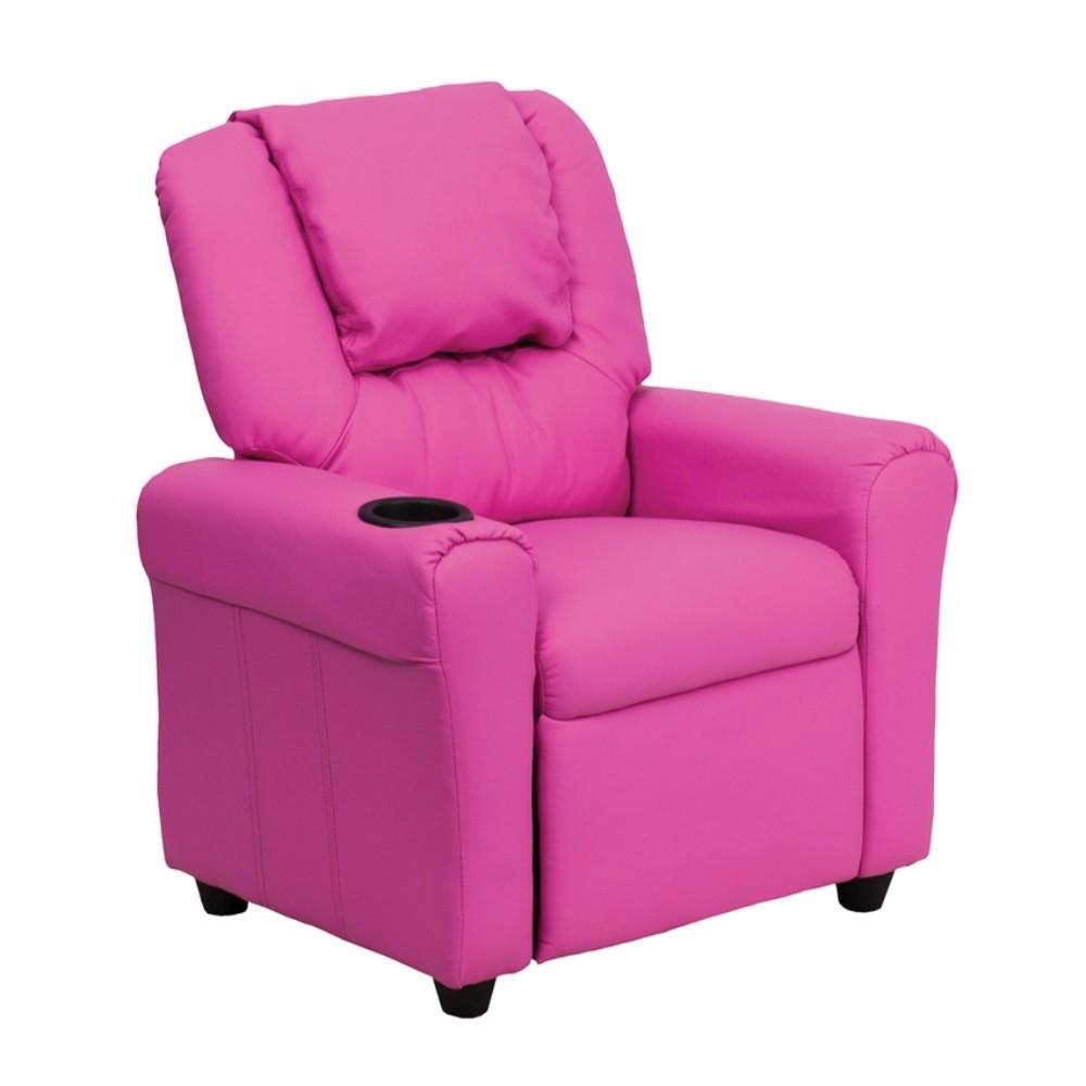 Flash Furniture Contemporary Hot Pink Vinyl Kids Recliner with Cup Holder and Headrest [863-Dg-Ult-Kid-Hot-Pink-Gg] 59e460282a00e43b69587e57
