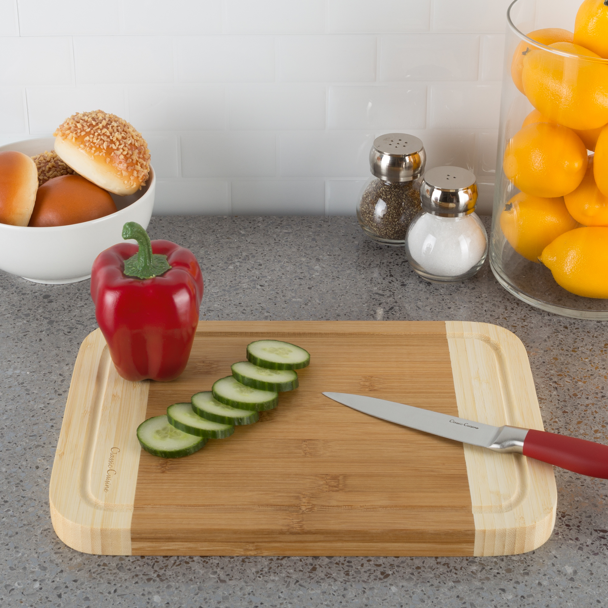 Two Tone Bamboo Cutting Board- Extra Thick, Eco Friendly and Antibacterial Chopping and Serving Board with Juice Groove 12 x 9 Inch