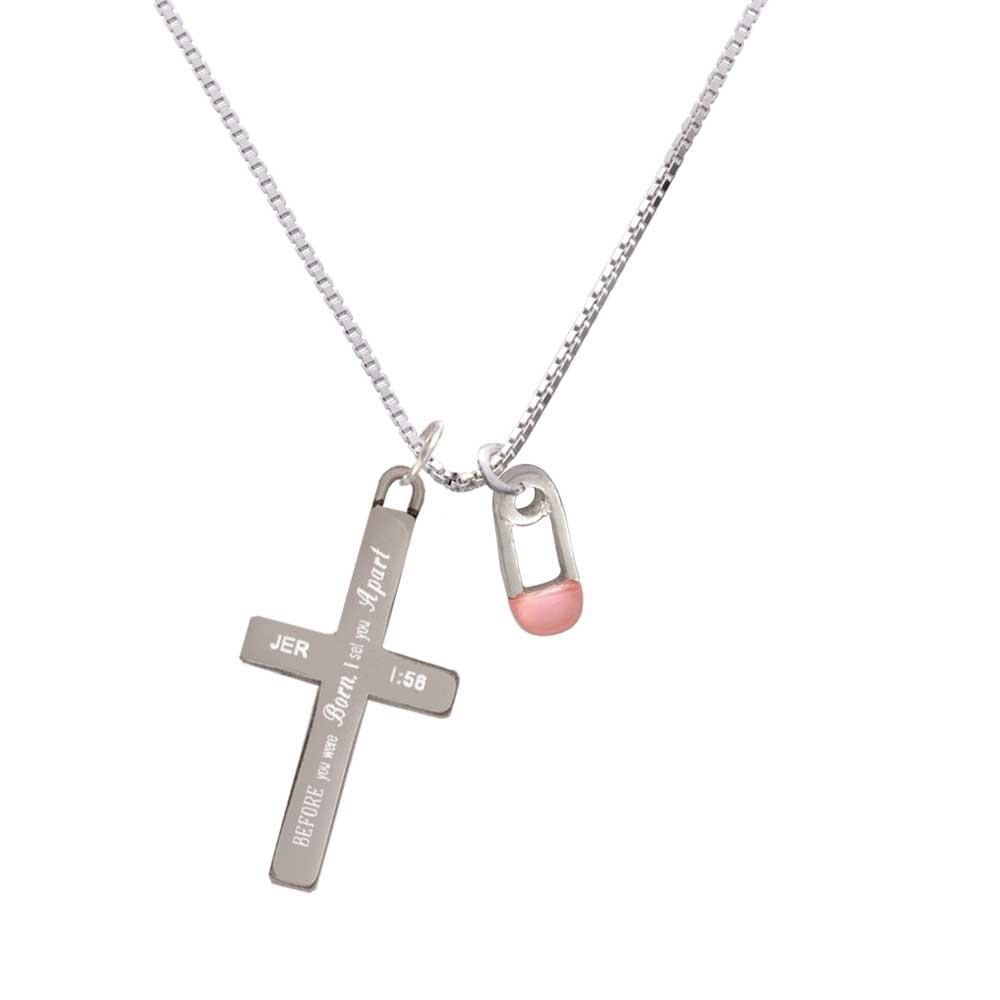 2-Sided Pink Baby Safety Pin – I Set You Apart – Cross Necklace