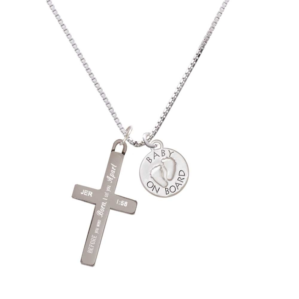 Baby on Board with Feet – I Set You Apart – Cross Necklace