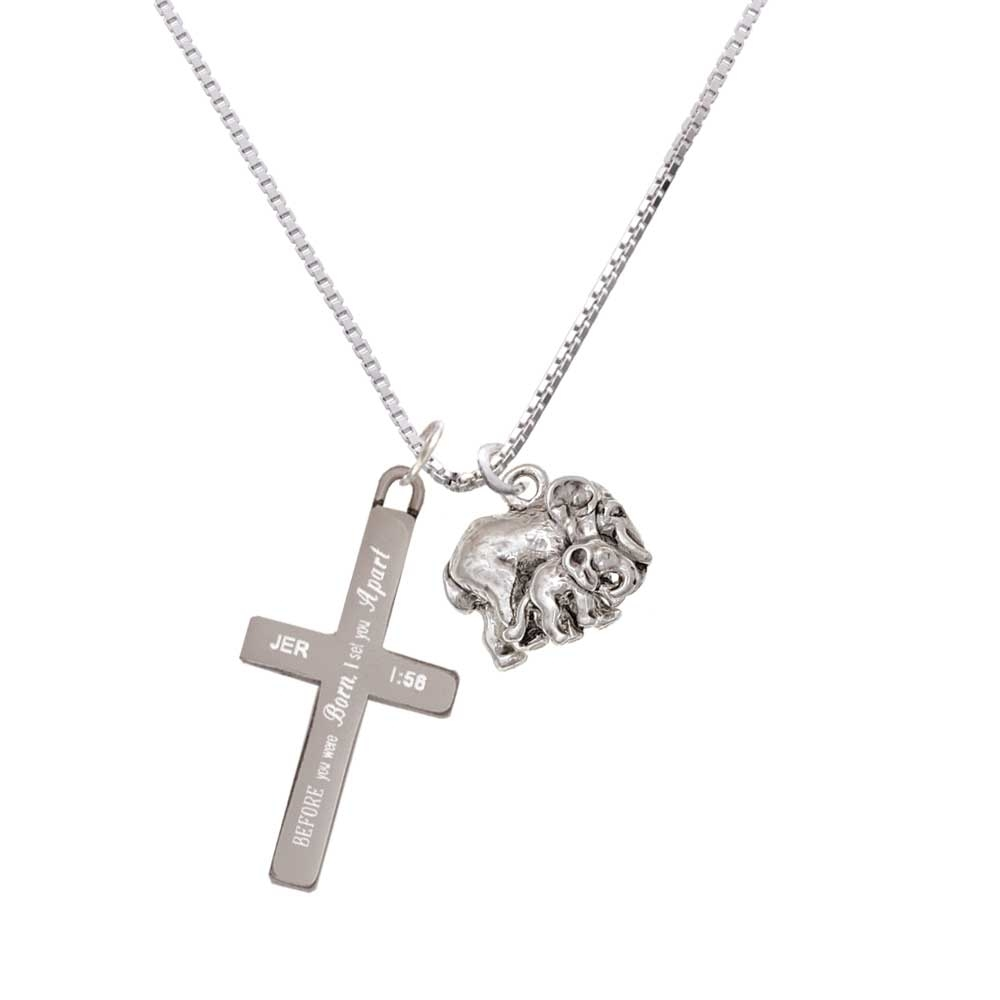 Loved Elephant with Baby – I Set You Apart – Cross Necklace