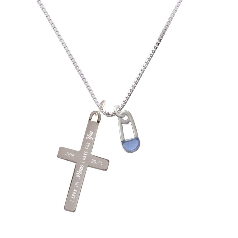 2-Sided Blue Baby Safety Pin – Plans I Have for You – Cross Necklace