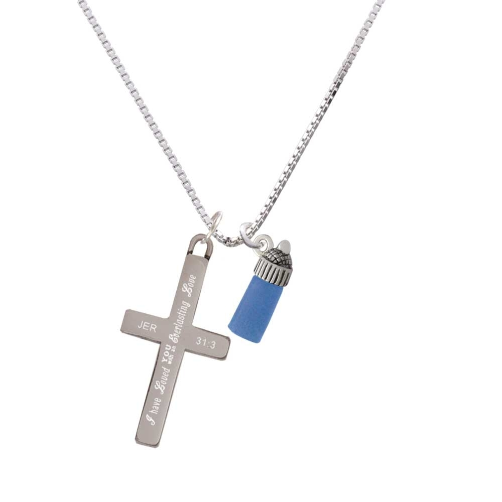 3-D Blue Baby Bottle – Everlasting Love – Cross Necklace
