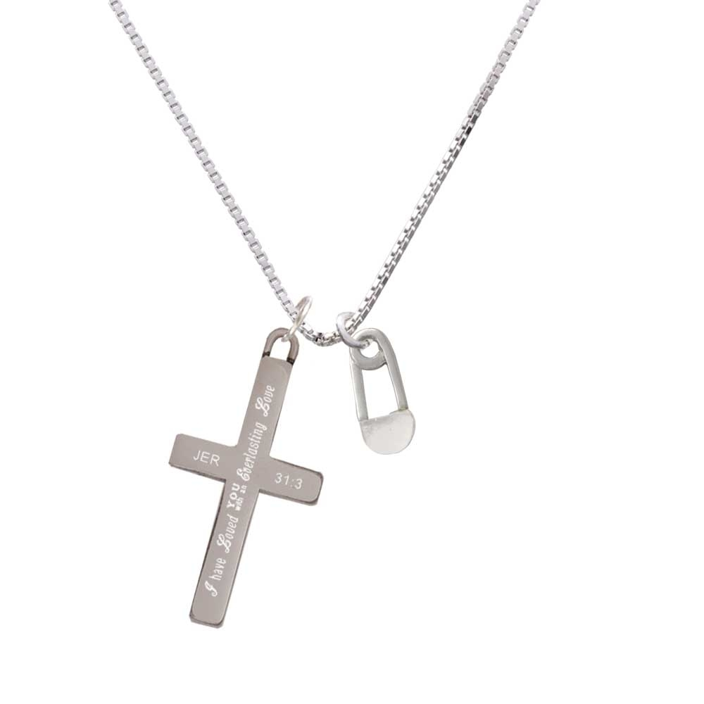 2-Sided Clear Frosted Baby Safety Pin – Everlasting Love – Cross Necklace