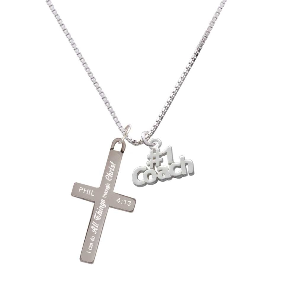 "Silver Tone #1 Coach - I Can Do All Things - Cross Necklace. Charm size is approx. 0.58 x 0.75 x 0.07 inches (HxWxD) including loop. 1.3mm Box Chain necklace is 18""+2"" Extender. Lobster claw clasp. Stainless Steel Cross is approx. 1.3 inches long. Engraved Bible verse Philippians 4:13 - I can do all things through Christ who gives me strength. Please Note: Our products are lead safe, but are not intended for children 14 years and younger."