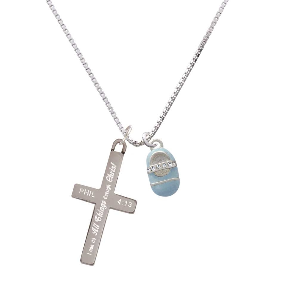 Light Blue Baby Shoe with Crystal Strap – I Can Do All Things – Cross Necklace