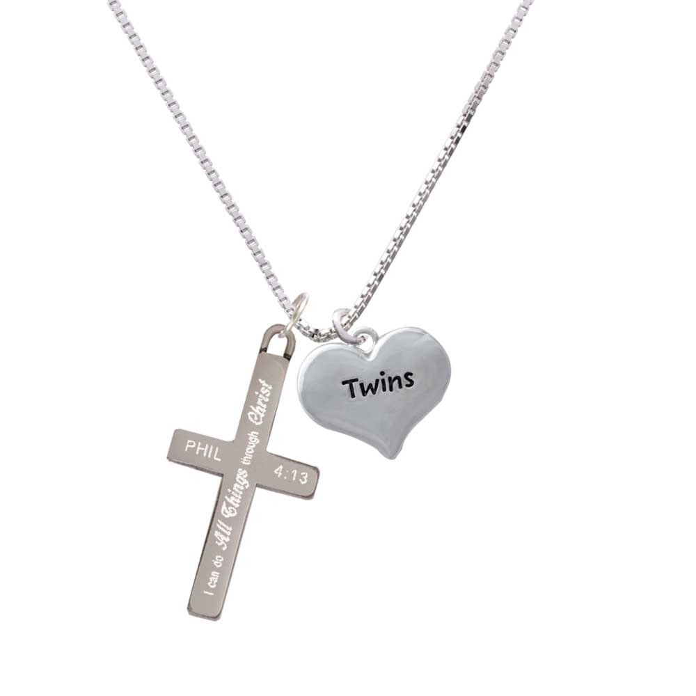 Twins Heart with Two Pair of Baby Feet – I Can Do All Things – Cross Necklace