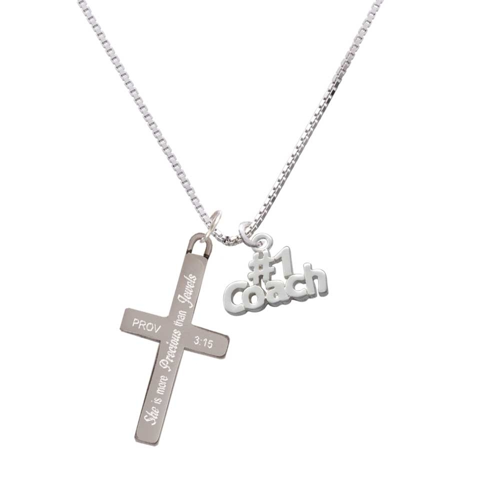 "Silver Tone #1 Coach - She is More Precious - Cross Necklace. Charm size is approx. 0.58 x 0.75 x 0.07 inches (HxWxD) including loop. 1.3mm Box Chain necklace is 18""+2"" Extender. Lobster claw clasp. Stainless Steel Cross is approx. 1.3 inches long. Engraved Bible verse Proverbs 3:15 - She is more precious than rubies; nothing you desire can compare with her. Please Note: Our products are lead safe, but are not intended for children 14 years and younger."