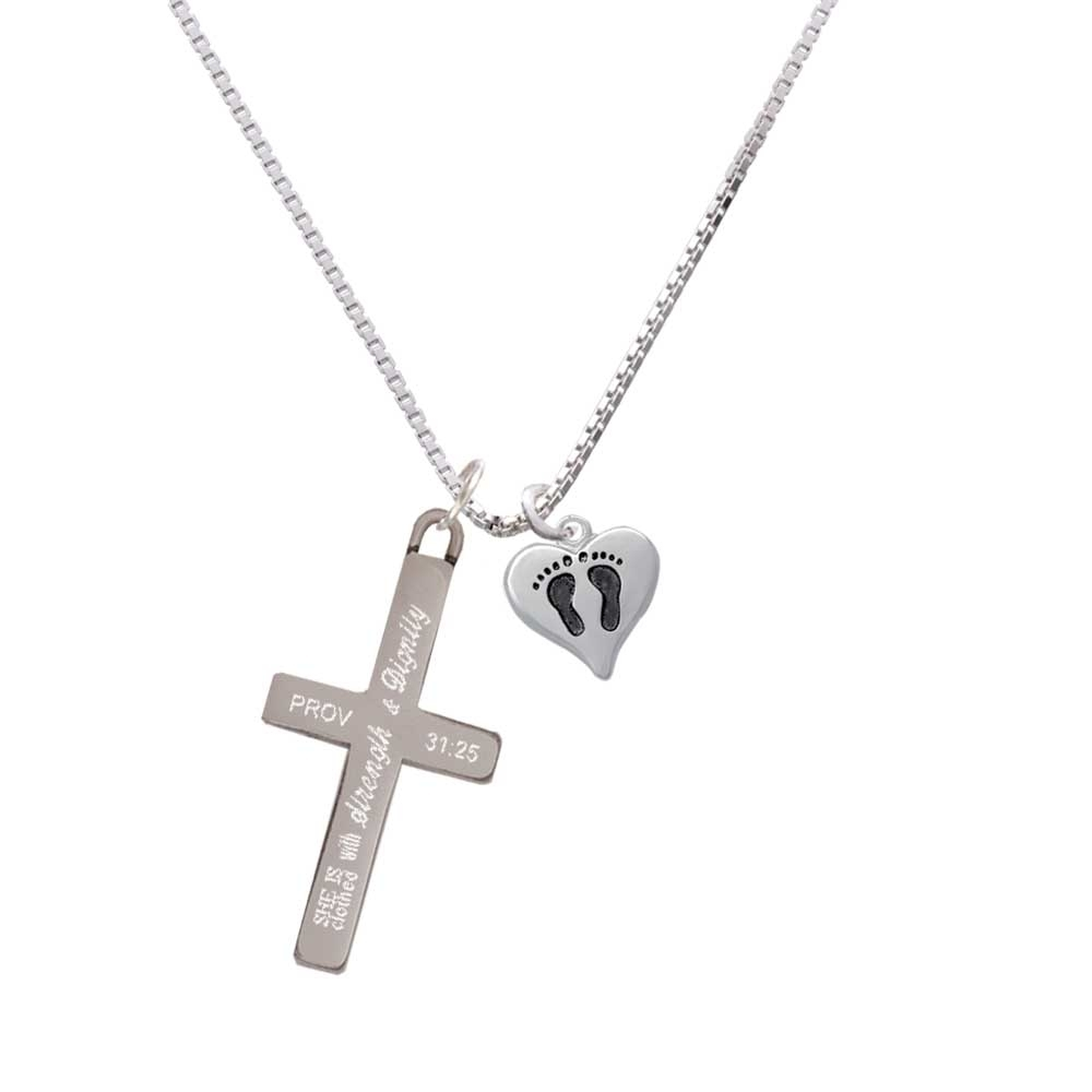 Small Heart with Baby Feet – Strength and Dignity – Cross Necklace