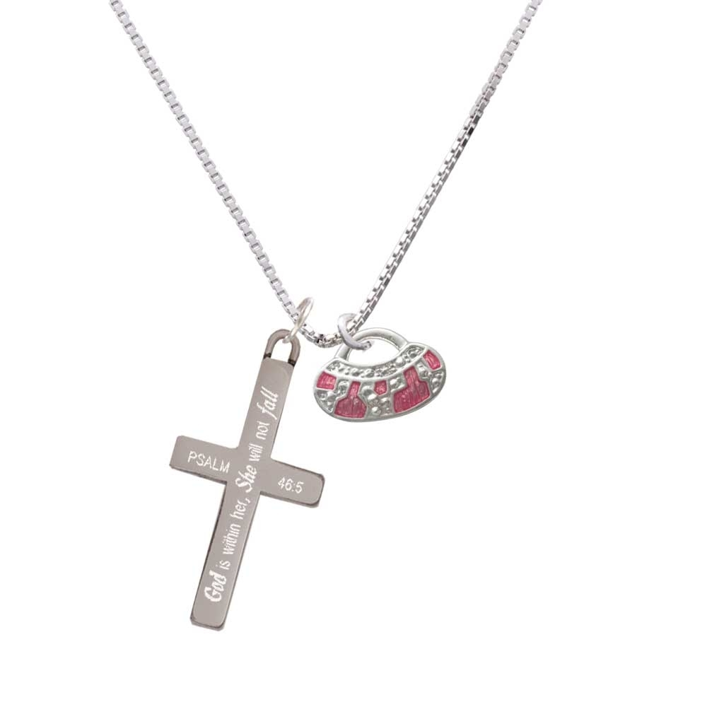 Hot Pink Retro Purse - She will not Fall - Cross Necklace (NC-C2449-C6596-F1578) photo