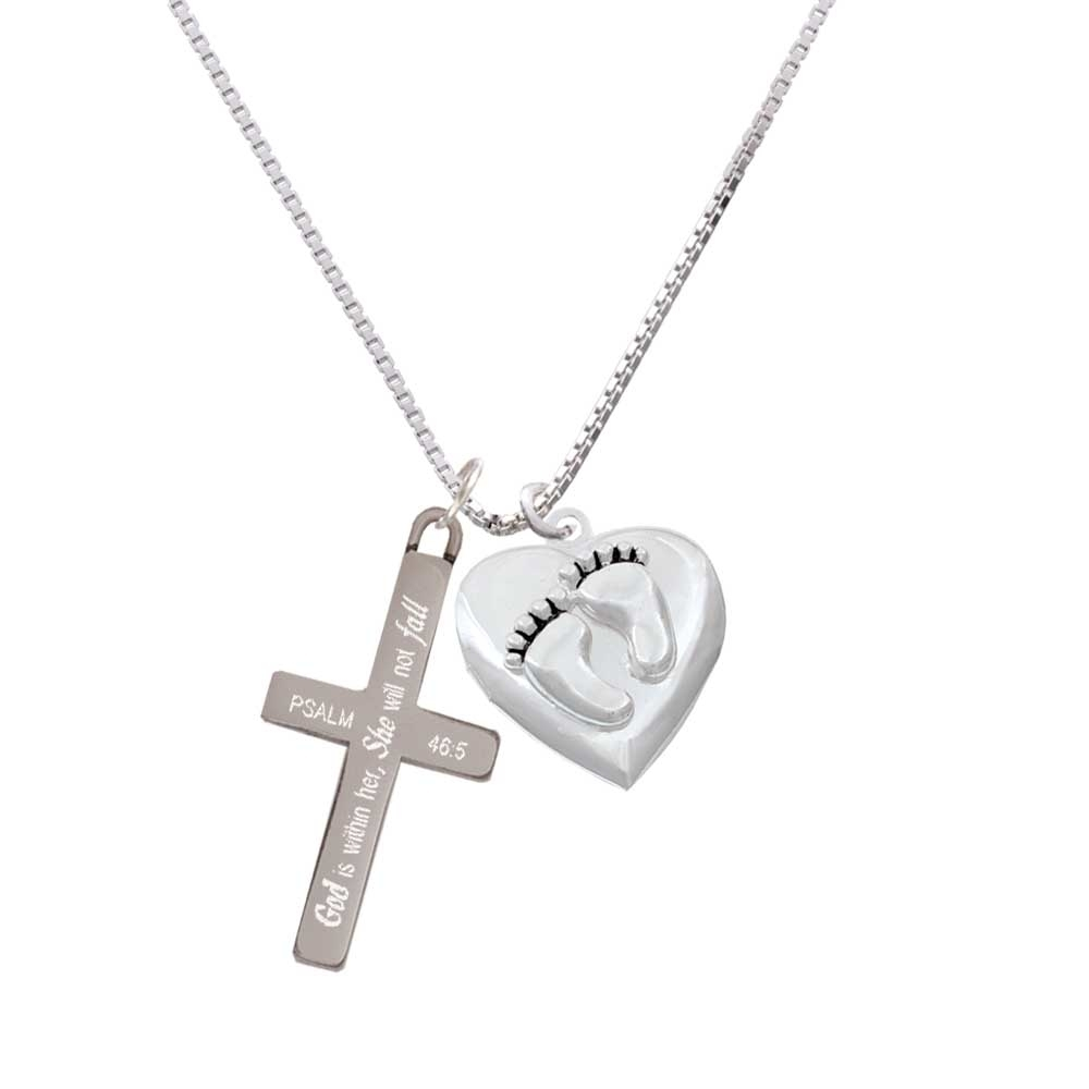 Baby Feet Heart Locket – She will not Fall – Cross Necklace