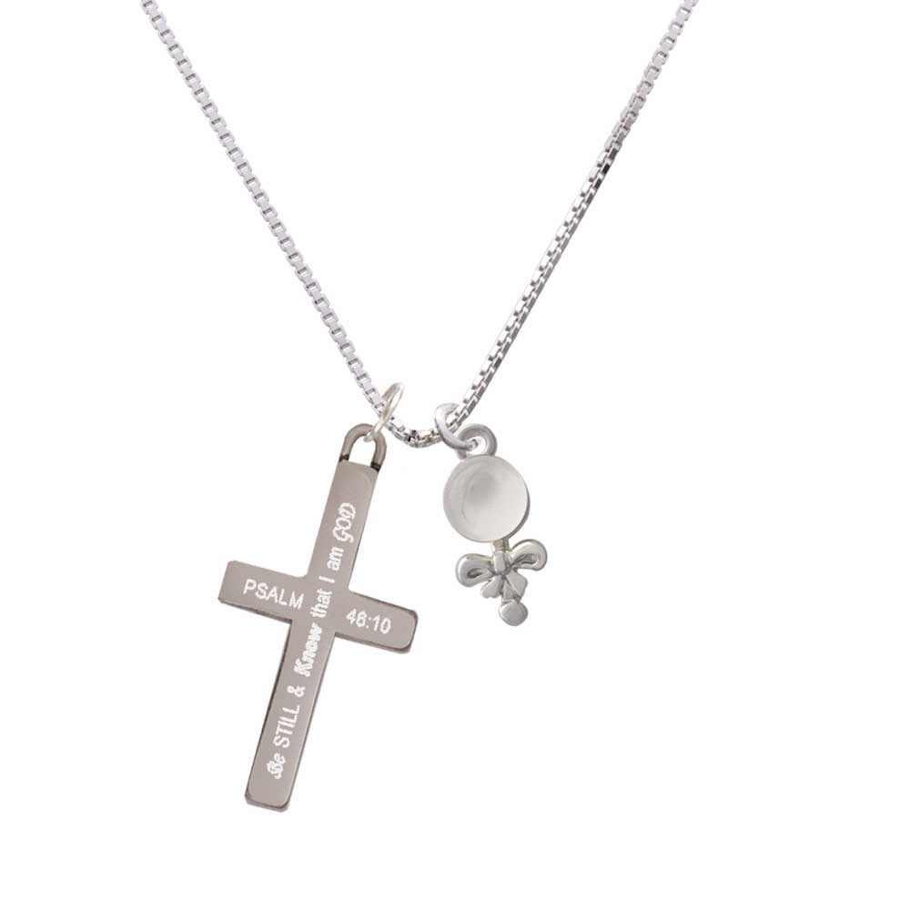 Clear Frosted Baby Rattle – Be Still and Know – Cross Necklace