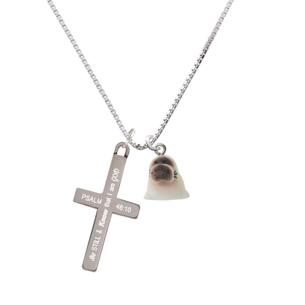 Resin Baby Seal – Be Still and Know – Cross Necklace