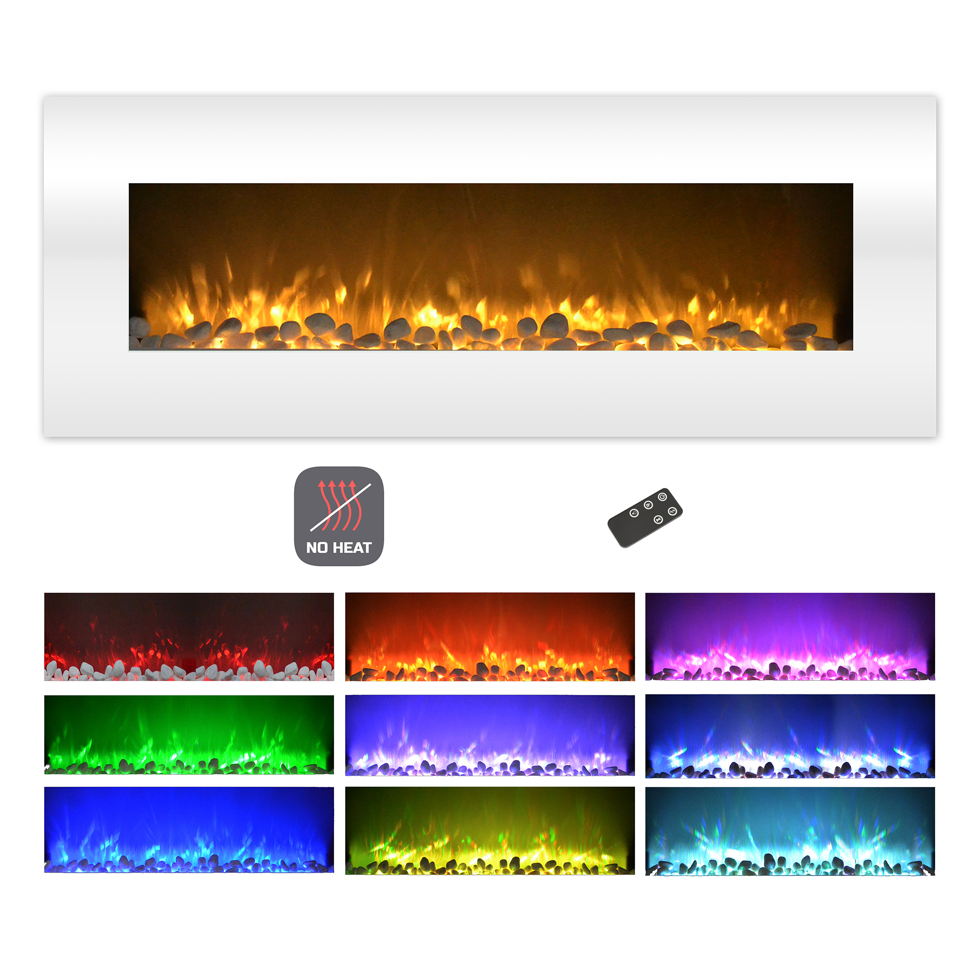 Destination Home Heat Fireplace Color Changing Led Wall Mount Remote Timer Electric
