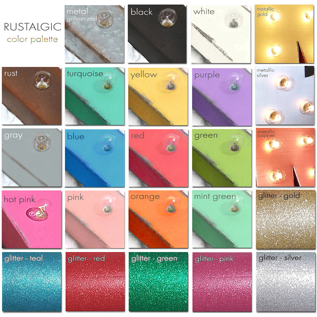 Rustalgic Choose Free Standing Hang Hooks Colors Rustic Metal Vintage Marquee Sign Light Let Mr