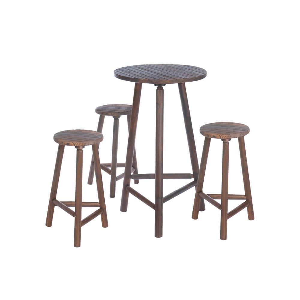 Accent Plus Wood Bar Table & Bar Stools Set