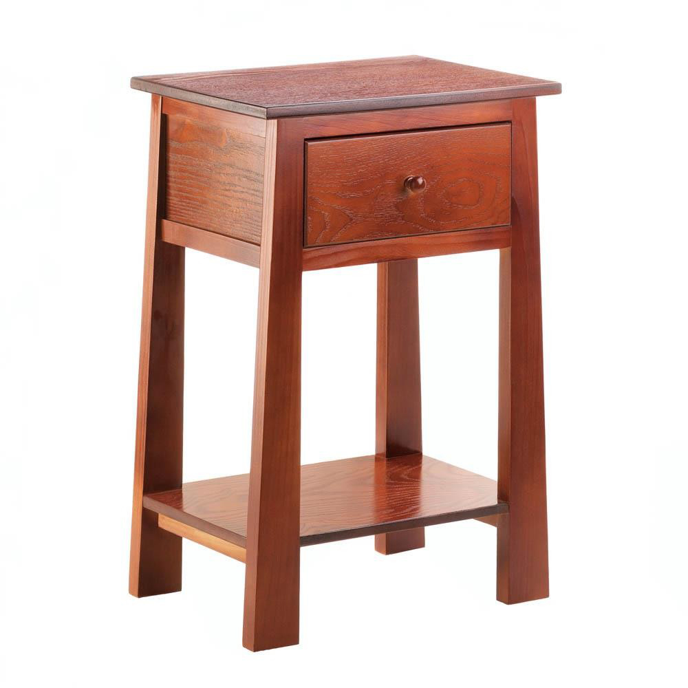 Accent Plus Contemporary Craftsman Wooden Side Table