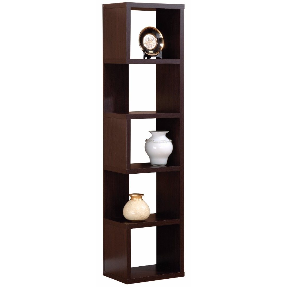 Elegant Corner Display Unit With Five Shelves, Brown