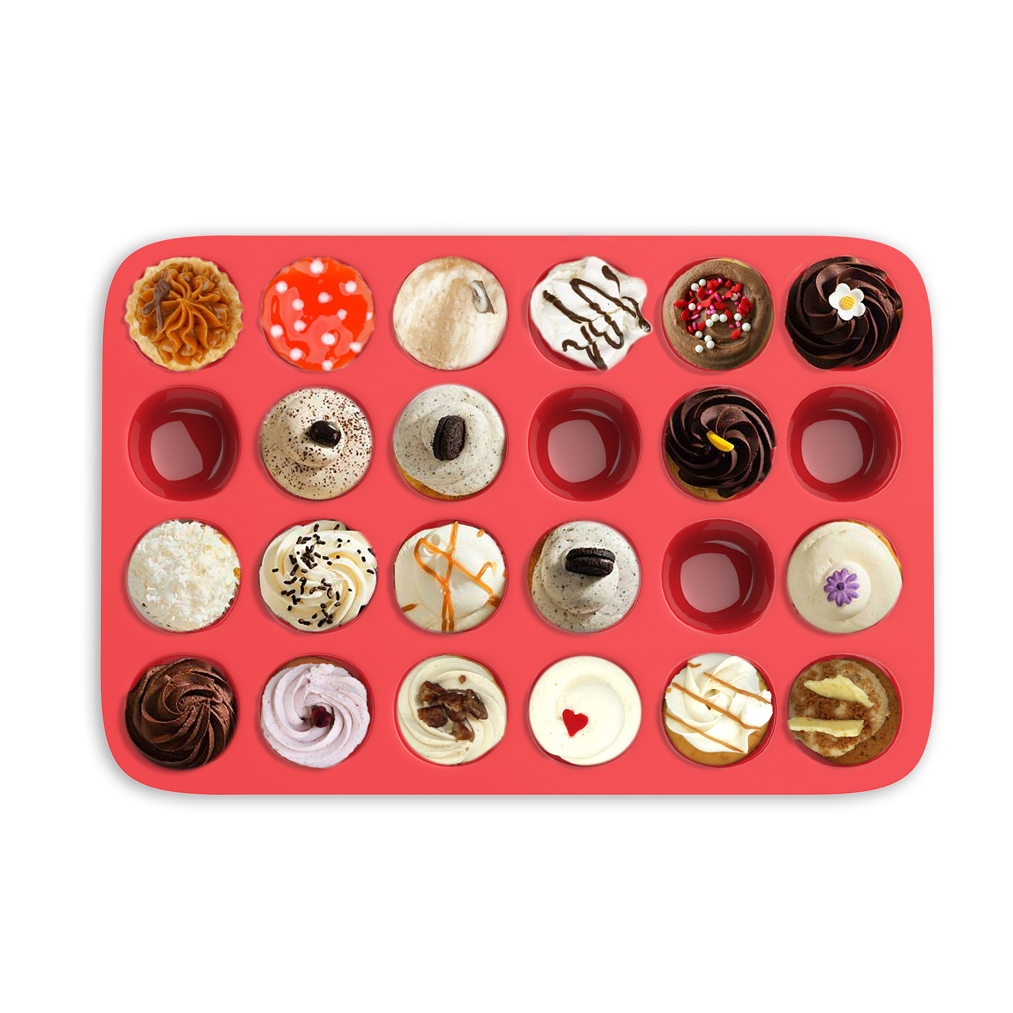 Mini Muffin Pan Silicone Nonstick Cupcake Muffin Brownie Reusable Bakeware 24 Molds in Tray Colorful 59f742326d88eb13723811a9