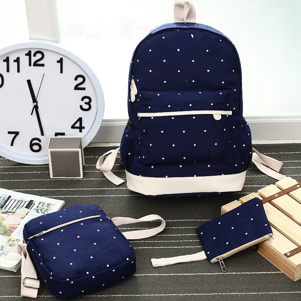 Women Canvas Backpack Girl Student Book Bag with Purse Laptop Bag 3Pcs (285547) photo