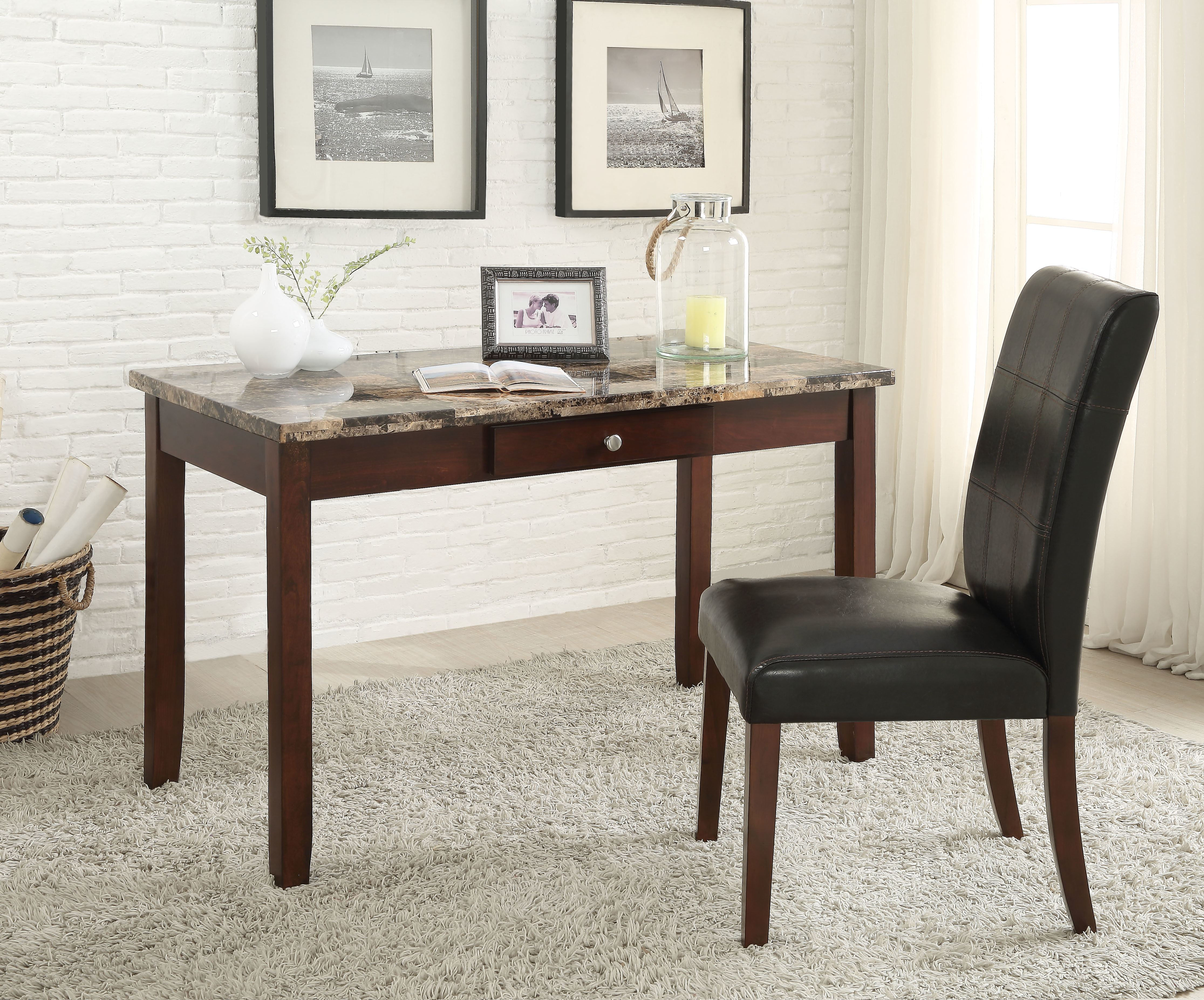 Sydney Desk & Chair, Brown Faux Marble, 2 Piece Pack