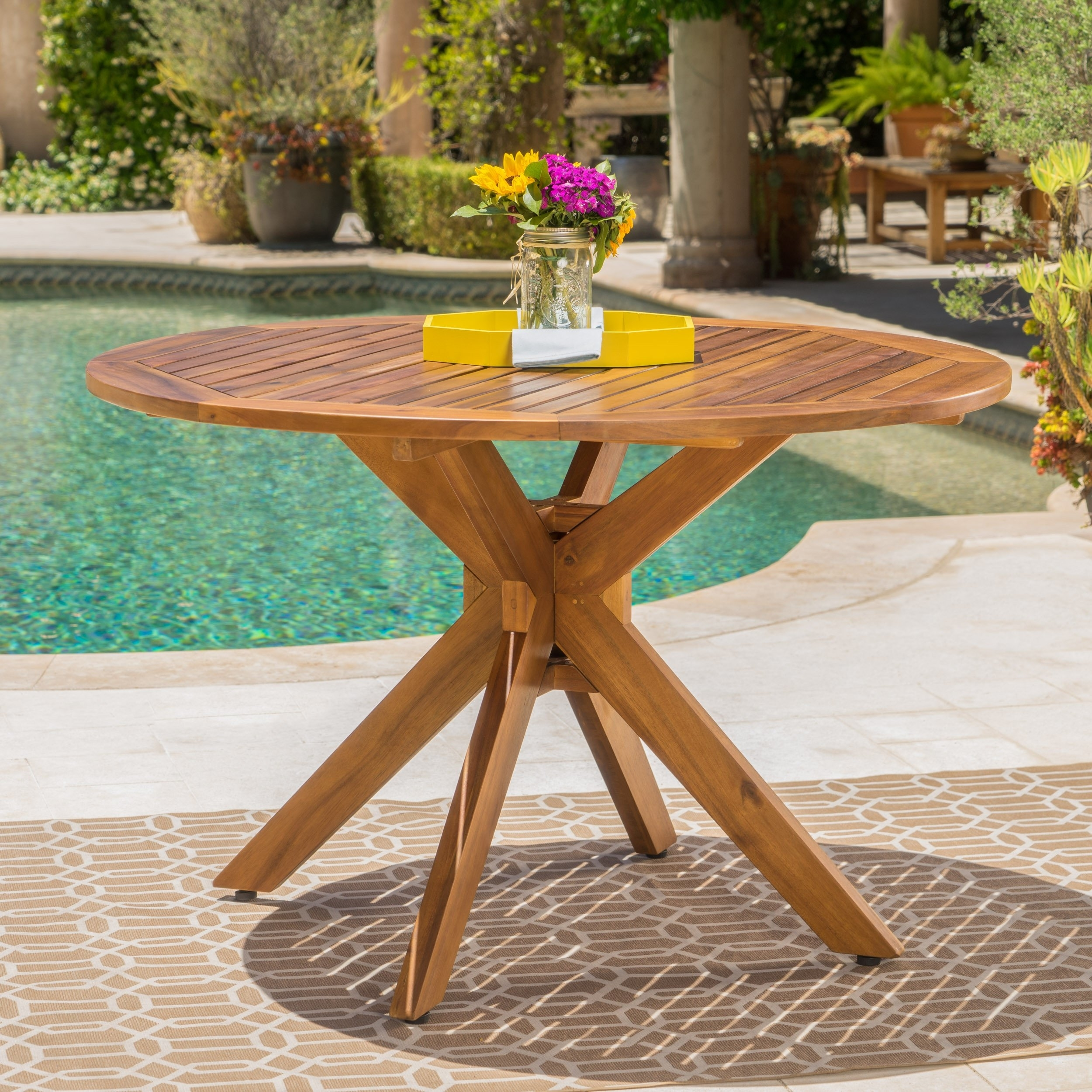 Stanford Outdoor Acacia Wood Round Dining Table