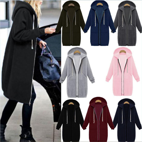 Zip Up Hoodie Solid Long Jacket Sweatshirt Outerwear Plus Size - Black, Small 5a027102f486b76ed7755f53