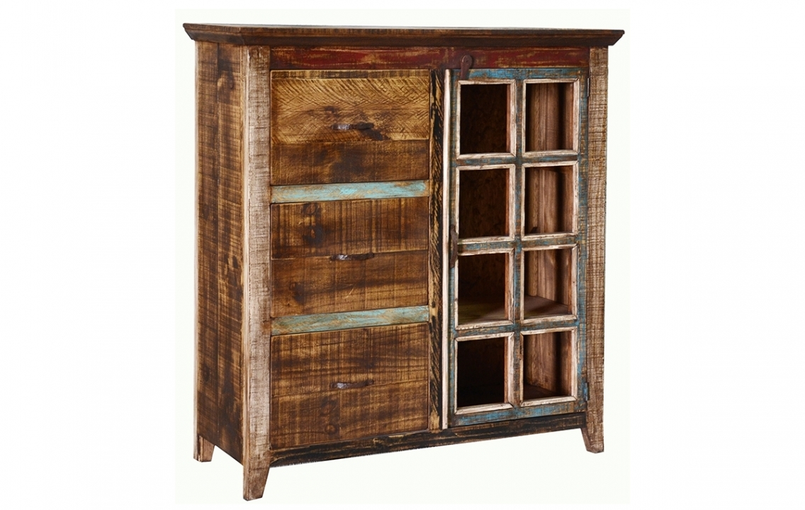 Quality Rustic Multi Color Louvered Series File Cabinet