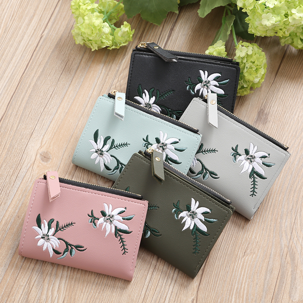 Embroidery Flower Faux Leather Women Girl Coin Purse Card Holder Short (142880) photo