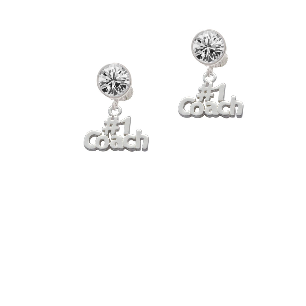 Silver Tone #1 Coach Crystal Clip On Earrings. Charm size is approx. 0.58 x 0.75 x 0.07 inches (HxWxD) including loop. Silver Tone 8mm Crystal Earrings are 10 x 10 mm (HxW). The hinged earwires have an adjustable screwback to customize your fit. Available crystal colors: Red, Green, Blue, Purple, Pink, Black, and Clear. Bow Earrings are 12 x 17 mm (HxW). Bows are available in Silvertone and Goldtone. These large sparkle earrings add bling to any outfit. Large clear crystal earrings go with everything! Please Note: Our products are lead safe, but are not intended for children 14 years and younger.