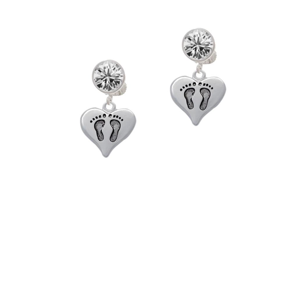 Heart with Baby Feet Crystal Clip On Earrings