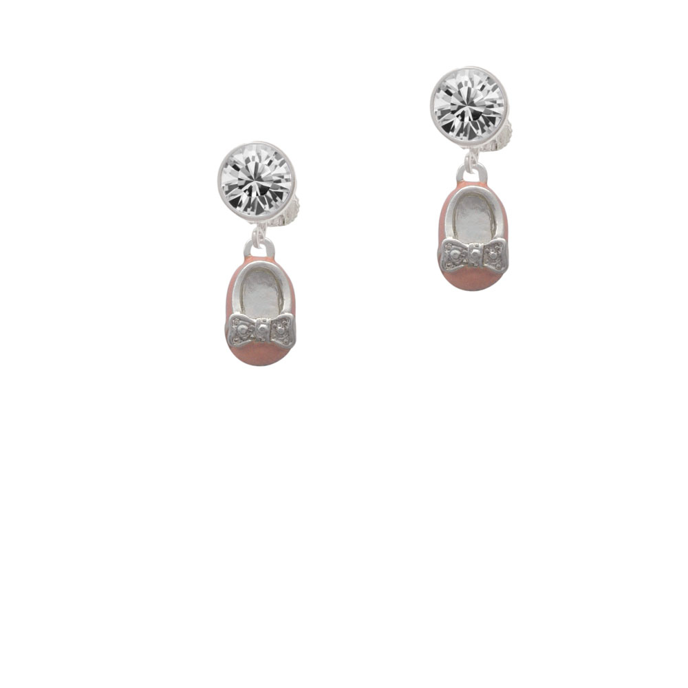 Pink Enamel Baby Shoe with Bow Crystal Clip On Earrings