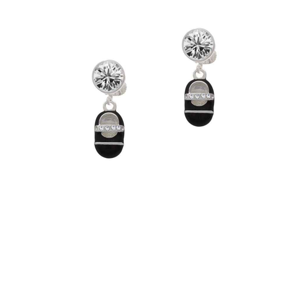 Black Baby Shoe with Crystal Strap Crystal Clip On Earrings
