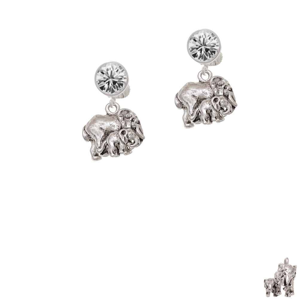 Loved Elephant with Baby Crystal Clip On Earrings
