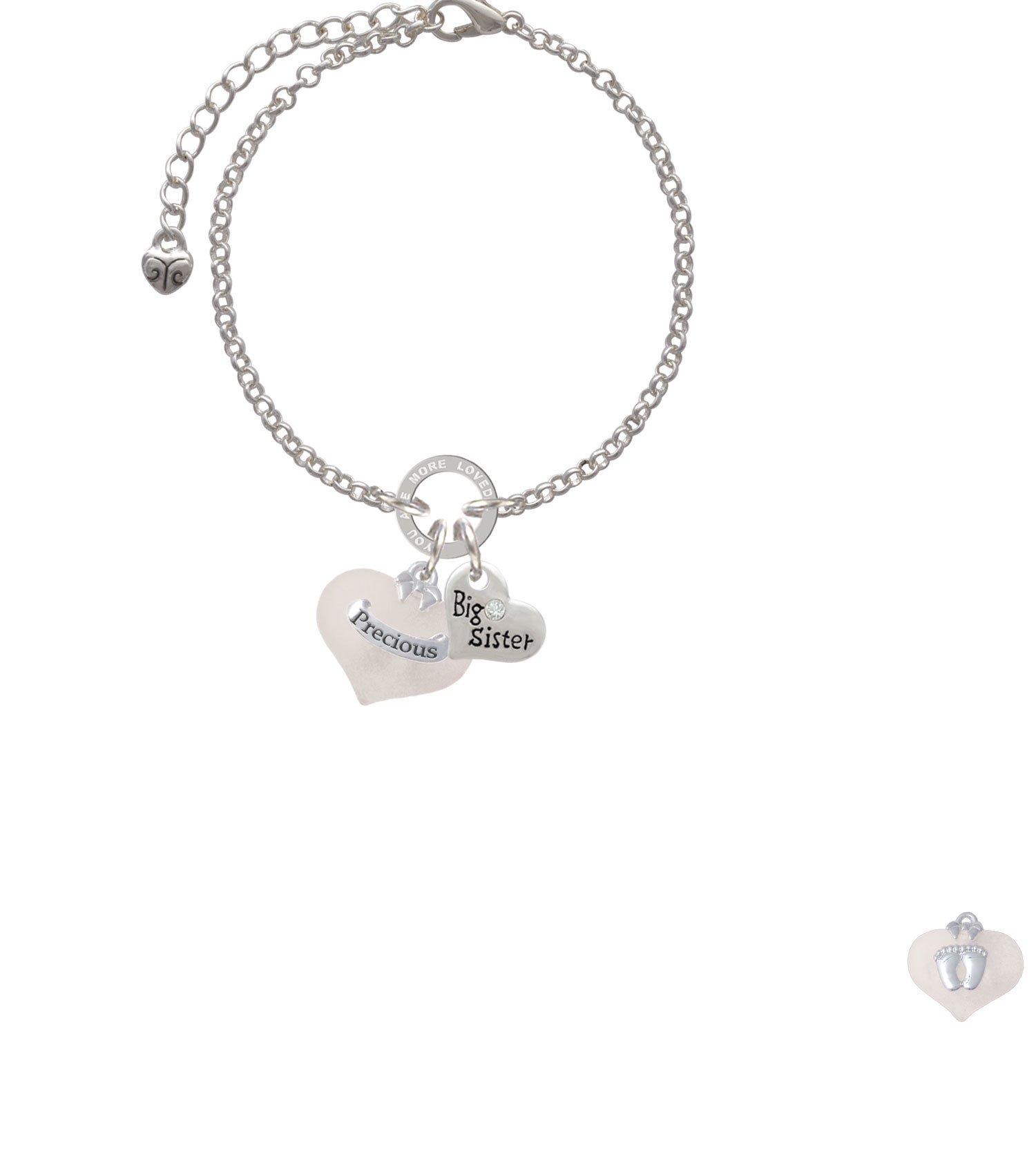 Precious White Heart with Baby Feet You Are Loved Circle Bracelet