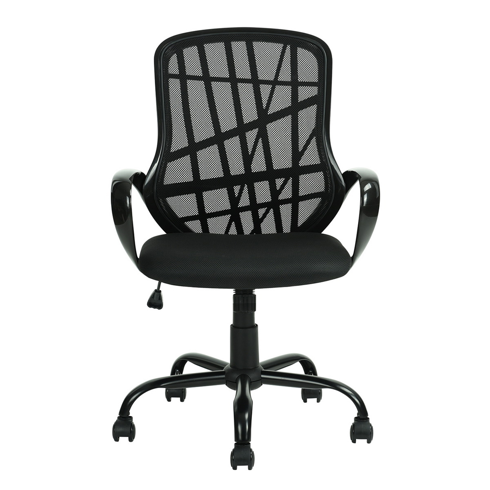 Middle Back Black Metal Five Stars Feet Anomaly Grid Office Chair with Shake Black 5a094207db2cdc0cd32a4746