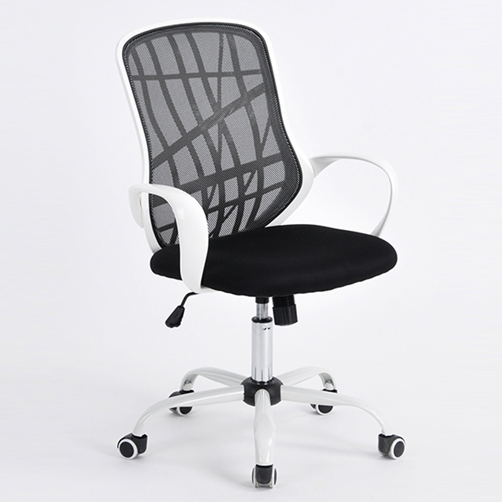 Middle Back White Metal Five Stars Feet Anomaly Grid Office Chair with Shake Black & White 5a0944b56130b23937201b1c