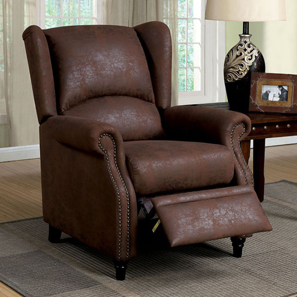 Leona Transitional Push Back Chair, Brown Finish