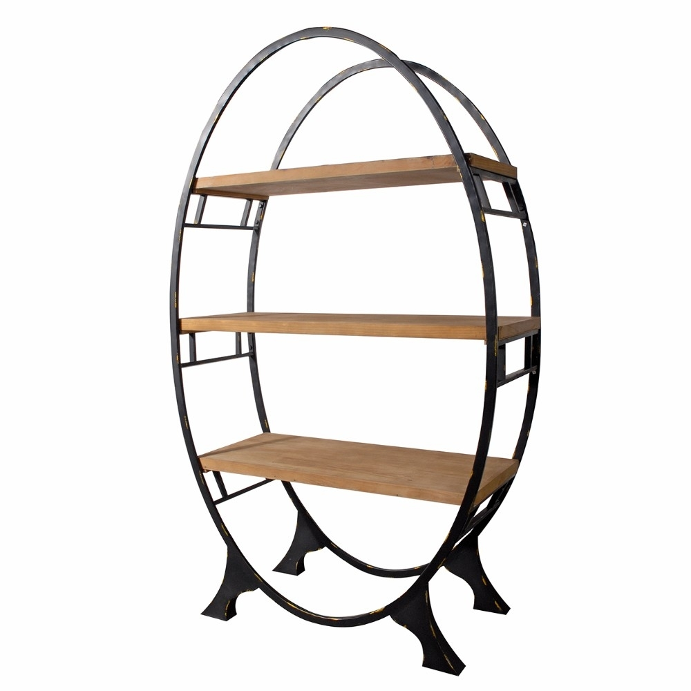 Modish Oval shaped Bookshelf, Black and Brown