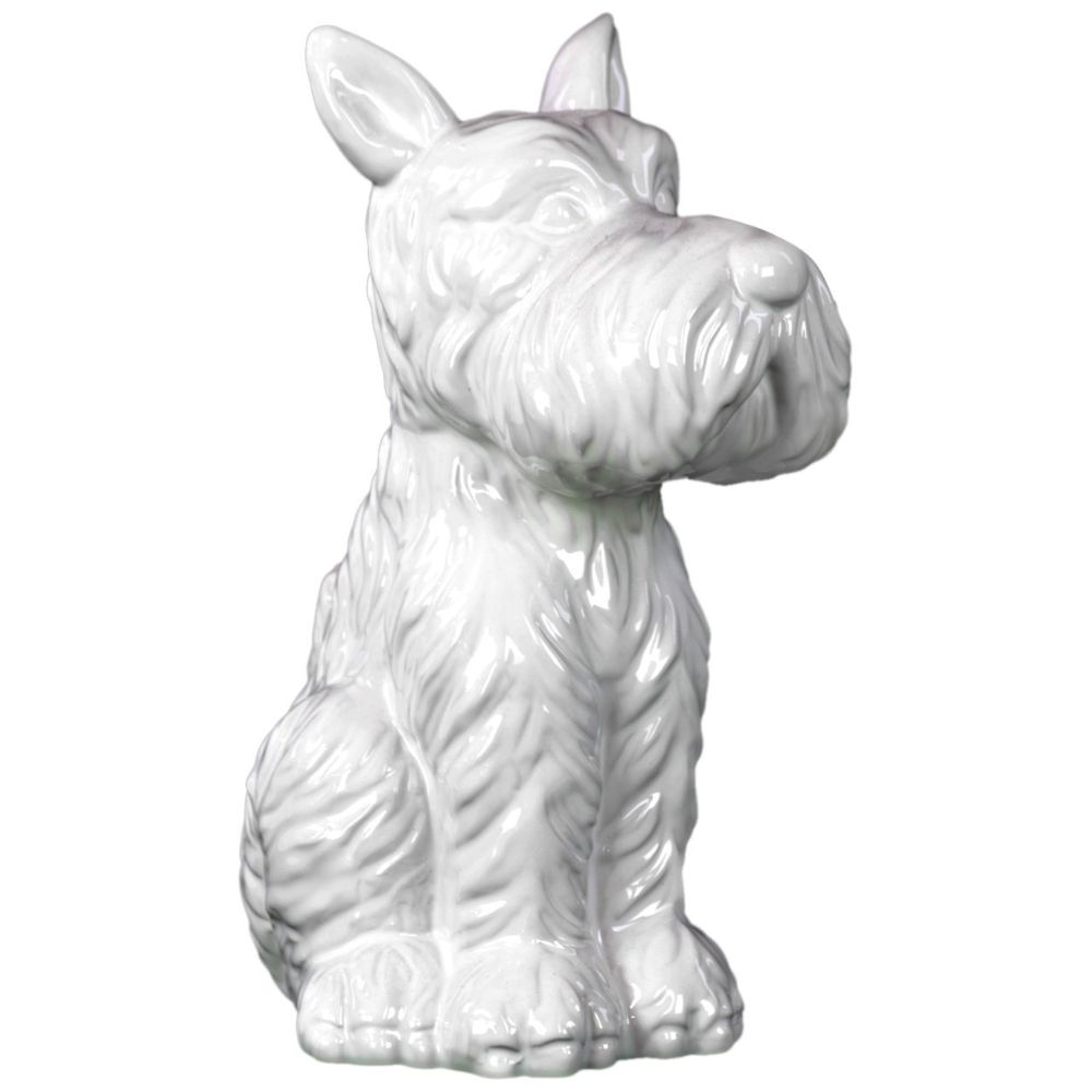 Ceramic Sitting Welsh Terrier Dog with Pricked Ears Gloss White 589953f9c98fc433fd261df0