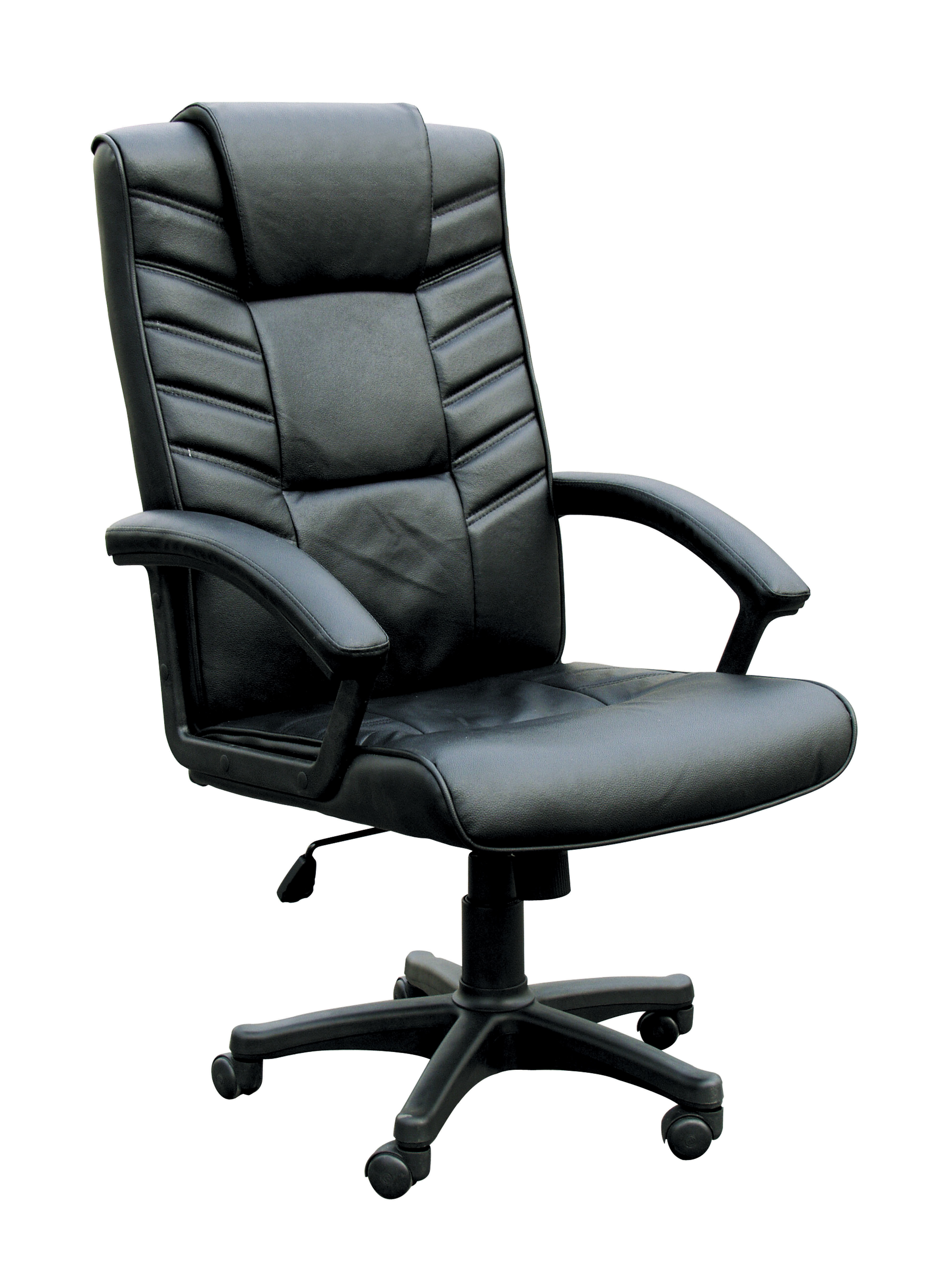 Chesterfield Office Chair With Pneumatic Lift, Black Bonded Leather
