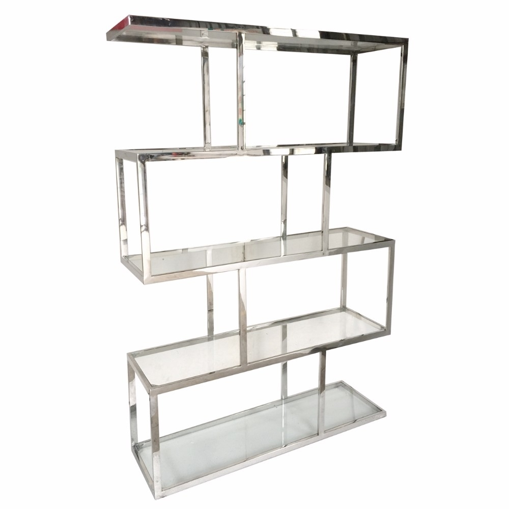 Vesey Metal And Glass Etagere, Silver and Clear