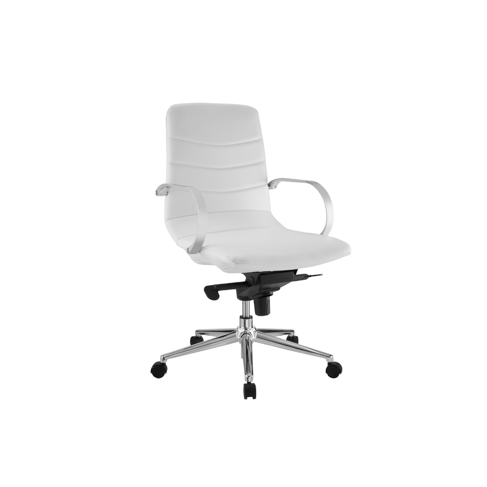 Horizon White Eco-leather Arm Office Chair