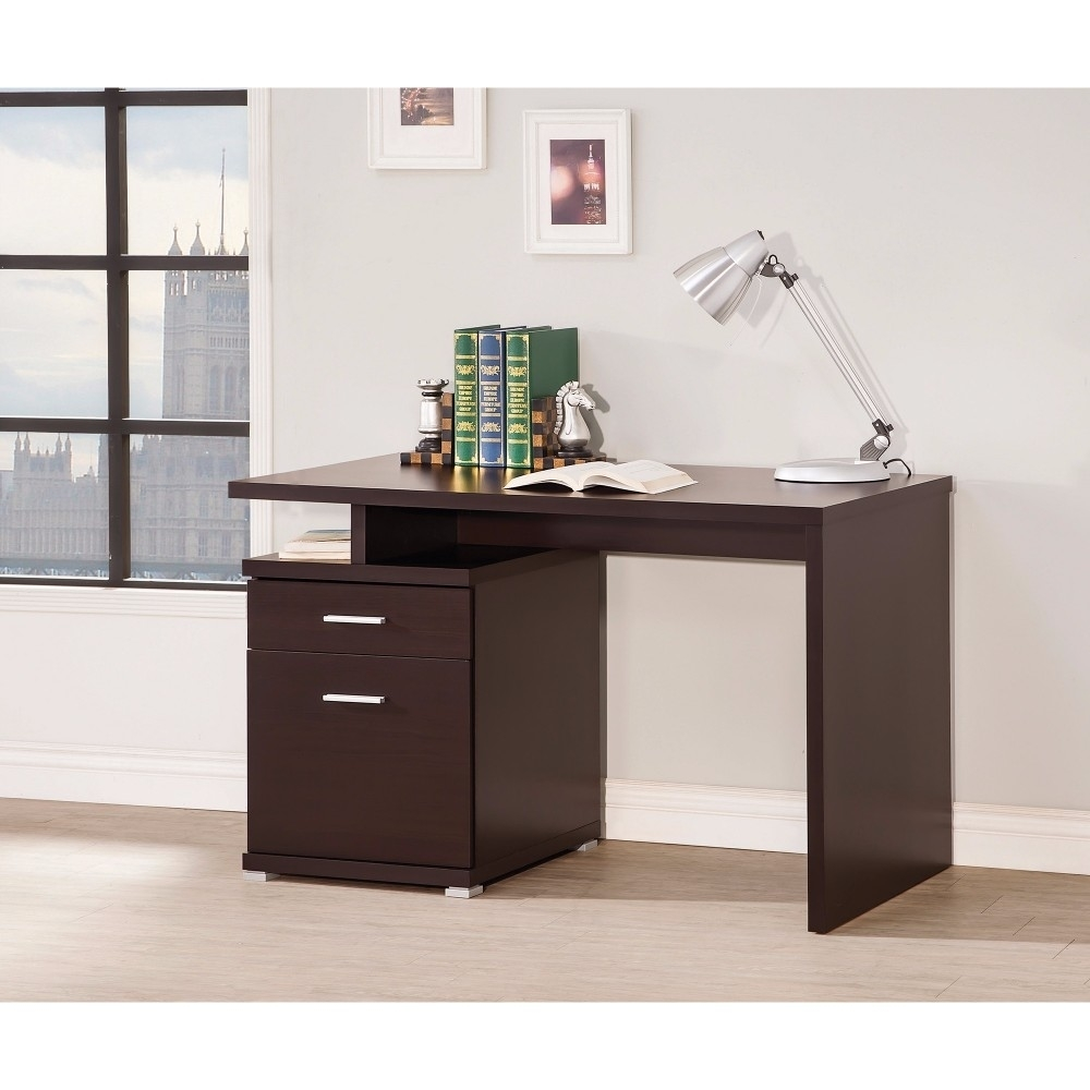 Wooden Contemporary Desk With Cabinet, Brown