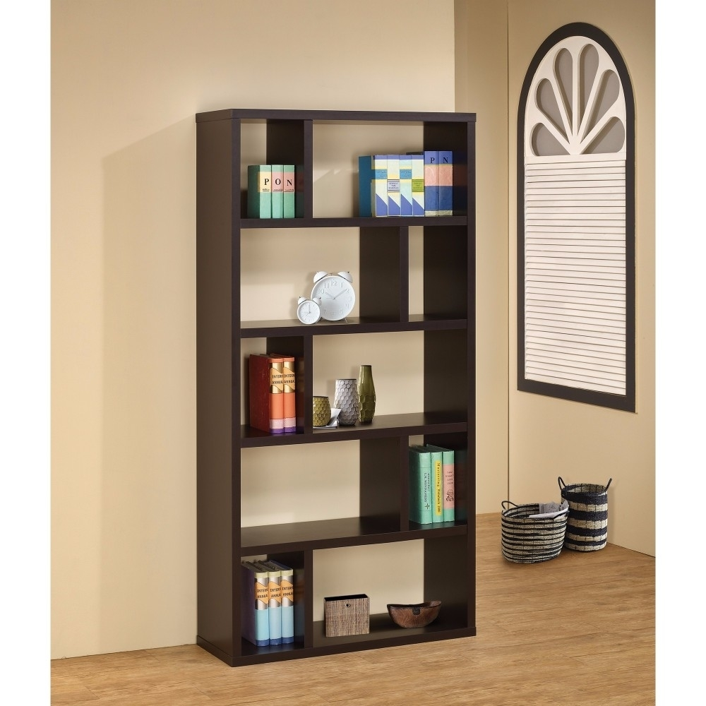 Fabulous Geometrically Designed Rectangular bookcase, Brown