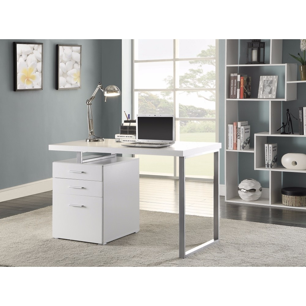 Superb White Office Desk With Reversible Set-up