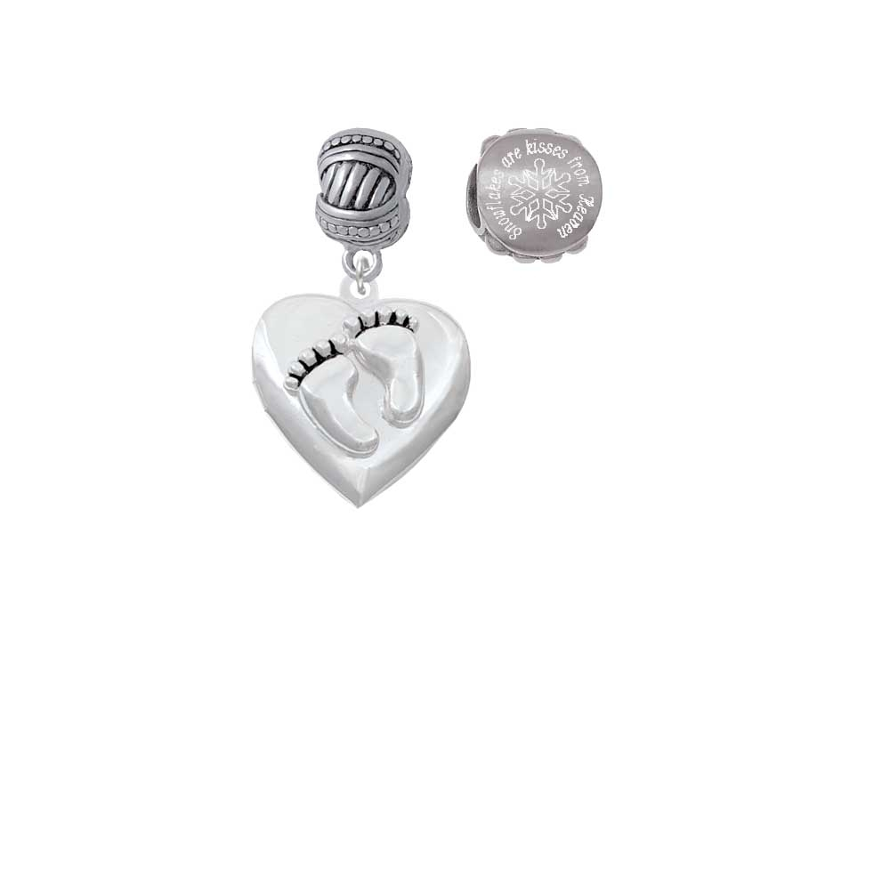 Silvertone Baby Feet Heart Locket Snowflakes are Kisses from Heaven Charm Beads (Set of 2)
