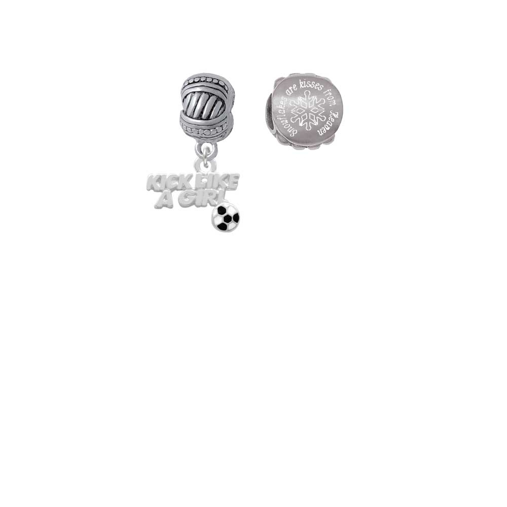 Kick Like a Girl with Enamel Soccer Ball Snowflakes are Kisses from Heaven Charm Beads (Set of 2)
